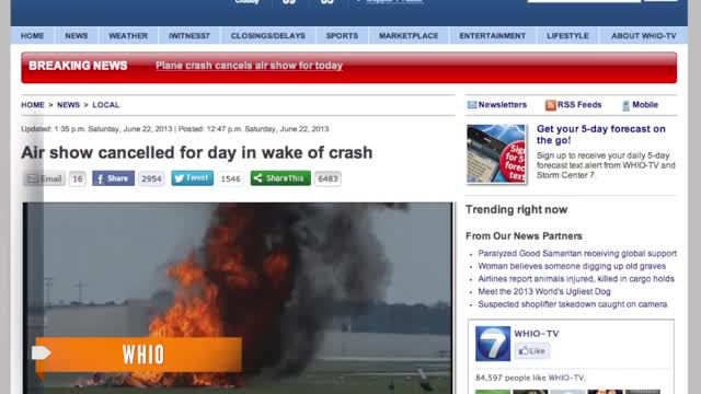 Wing walker, pilot killed in fiery plane crash at Ohio air show ...